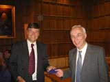 Dr. Wyatt receives his award in King's College, Cambridge, 1 September 2005