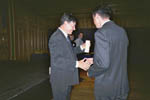 Guglielmo Volpe receives his award at DEBE 2003